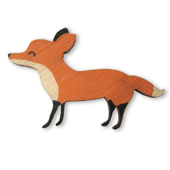 Red Fox Wood Brooch Pin