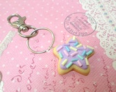 Mermaid Couture, Miniature Food Jewelry: Kawaii Purple Pastel Sugar Cookie Mermaid Keychain, Polymer Clay