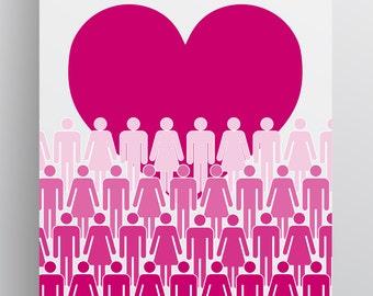 Love Valentines People Print - Love Wall Art - Love Print - Instant Download Digital Printable Art - Pink - Heart - Multiple Sizes