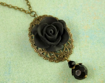 Simple Black Flower and Oval Filigree Bridesmaids Necklace