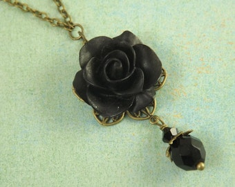 Simple Black Flower and Brass Filigree Bridesmaids Necklace