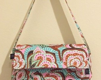 Messenger Sling Hand Bag or Tote in Amy Butler Hapi fabric Pink Teal Ready to ship