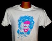Zombie Albert Einstein T-shirt with Blue and Neon Pink ink (all sizes available)