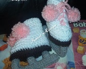 Boutique Crochet Ice Skates Baby Booties