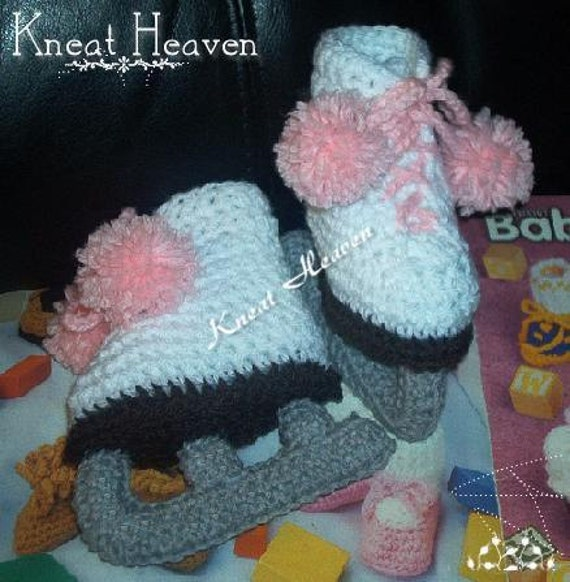 Boutique Crochet Ice Skates Baby Booties by KneatHeaven on ...
