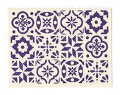 Blue Spanish Tile note card, blank inside, letterpress greeting card, pattern, geometry, azulejos, Spain, blue and white, made in Maine