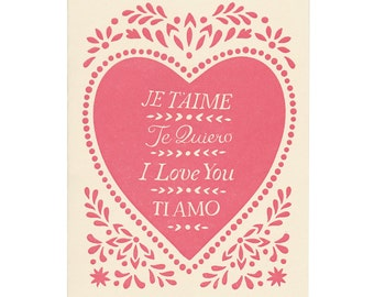 letterpress JE T'AIME greeting card, pink, heart, spanish, italian, french, te quiero, ti amo, love you, valentine, made in maine, handmade