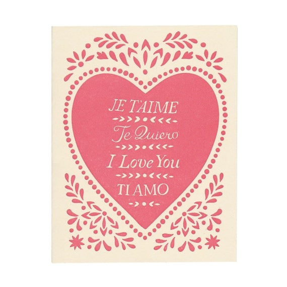 hand-printed letterpress JE T'AIME greeting card