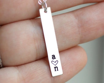 Mom Necklace, Mother's Necklace, Initial Bar Necklace, Two Initial Necklace, Heart, Sterling Silver, Personalized Gift, Two Children, 2 kids