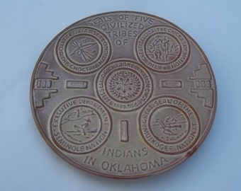 "Frankhoma ""OK3"" Trivet Seals of the 5 Civilized Tribes"