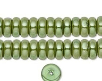 Elegant Glass Pearl Rondelles Fern Green 8x3mm 35 pcs