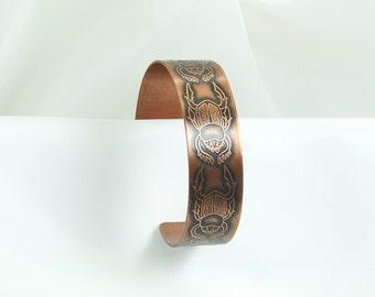 Copper Cuff - Egyptian Scarabs - Ladies L, Men's M  Bracelet