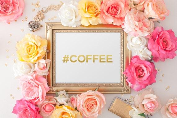 Hashtag Coffee Print / Coffee Wall Art / Coffee Kitchen Art / Actual Foil / Custom Hashtag Print / Gold Foil Print / Coffee Bean Print