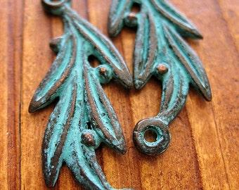 Ancient Olive Branches in Verdigris Bronze - 2 pieces