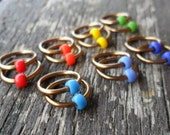 Choose Size Dangle Free Knitting Stitch Markers Opaque Seed Beads Bronze Wire Rainbow Set of 14 Snag Free