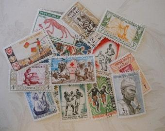 16 Vintage 1960s-1970s Postage Stamps, Republic of Dahomey (Benin), Excellent Condition, 4 Uncanceled