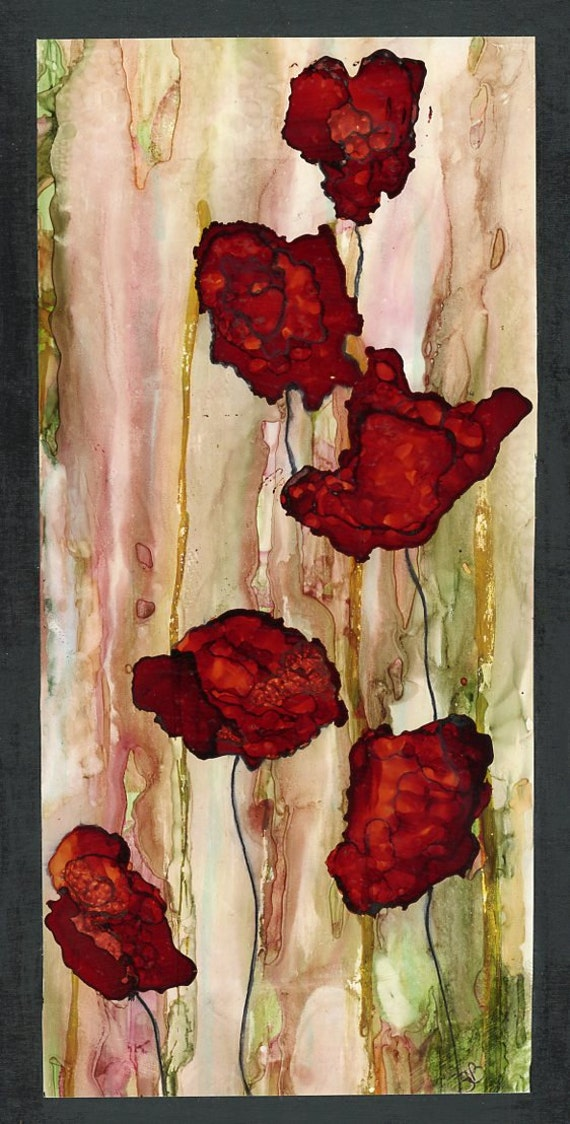 Painting done on yupo paper with alcohol inks and mounted onto for Painting while drinking wine