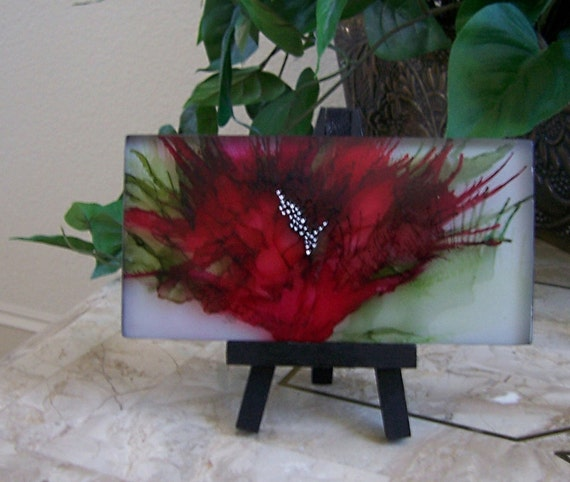 Frosted Tile Alcohol Ink And Acrylic Original Painting Red