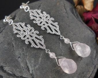 Sterling Silver Rose Quartz Gemstone Earrings