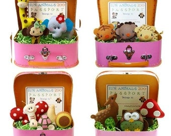 Set of 3 Play Pals Storybook Animals Suitcase, birthday gift, party favors, children pretend play, nursery decor, playroom, dormitory decor