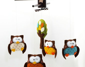 Musical Baby Mobile OWL WONDERFUL With Tree or Cloud, Woodland Bird Owl Theme, Felt Hanging Mobile for Baby Crib, Playroom and Nursery Decor