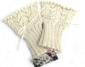 Lace knit cuffs, made to order knitted handwarmers, wedding gloves, bridal accessories, prom mitts, ivory cream victorian style wristwarmers