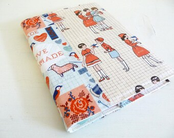 I Love Handmade Fabric Covered Journal, Cotton Print Journal with lined pages