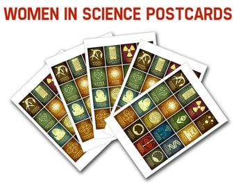 Women In Science Postcards - 5 Blank Cards, Women In Stem, Scientists from History, Nerdy Stationary, Geek Pen Pal Franklin Lamarr Goodall