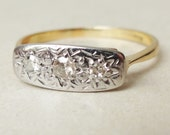 Art Deco Diamond Starburst Trilogy Ring, 18k Gold and Diamond Engagement Ring Approx. Size US 6.25