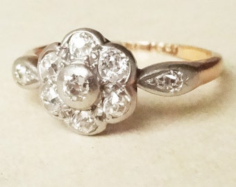 Art Deco Flower Diamond Daisy Ring, 18ct Gold and Platinum Diamond Engagement Ring Approx. Size US 6 / 6.25