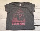 Pink/Grey Colorado Mountain design tee