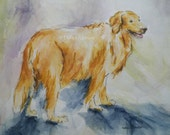 Sweet Golden Retriever Dog Watercolor Art Original Painting Canine Sketch Illustration by Artist Debra Alouise