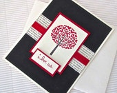 I love us card handmade stamped ribbon embellished love anniversary Valentine red vanilla black modern heart tree stationery greeting home