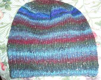 Hand knit knitted wool silk watch cap beanie hat one size large men women teens blues green cranberry ruby teal