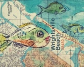 "Wrightsville beach fish map Wilmington NC ""16x5' mounted ready to hang print with black trim"