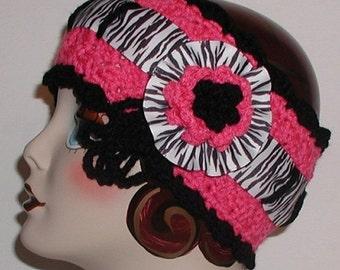 Hot Pink Headband Zebra Black Rosette Flower Head Ski Head Band Ear Warmer