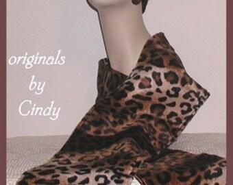 Leopard Faux Fur Scarf Brown Black Cream Khaki Neck Warmer Gear
