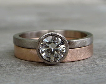 Moissanite Engagement Ring - Forever Brilliant - Recycled 18k Palladium White Gold with Recycled 14k Rose Gold Band - Ethical, Eco-Friendly