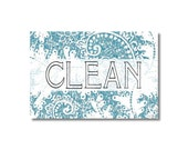 Dishwasher Magnet Clean Dirty Flip Sign Lace pattern Blue Rose shabby Wife Gift