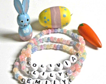 Easter Basket Spring Fling Party Favors Personalized Name ID Children's Bracelets Boys and Girls Styles Egg Hunt Prizes
