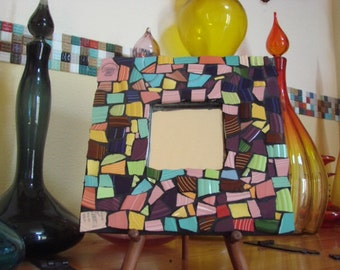 Mirror Wall Hanging Plaque Home Decor Mixed Media Mosaic Art Tile Solid Color Broken Plate Shards Tesserae