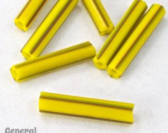 15mm Yellow Stripe Tube Bead (20 Gms) #3478