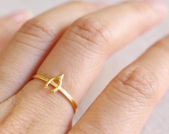 tiny wishbone ring . wish bone ring . wishbone stacking ring . silver wishbone ring . lucky ring . simple wish ring // 4WBNE