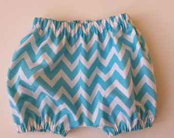 BLOOMERS BUBBLE SHORTS Turquoise Chevron Girl or Boy Sizes 3 months - 3 yrs.