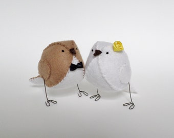 Wedding cake topper birds, lovebirds, yellow wedding cake decoration, keepsake