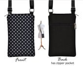 iPhone 6 / Plus Smartphone Purse,  Cute Polka Dot Cell Phone Case Black White Small Cross Body Bag,  zipper, fabric RTS