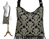Bohemian Hippie Bag, Boho Fringe Purse,  Damask Cross Body Hobo Bag, Tapestry Handbag, Gray Black Crossbody Purse  RTS