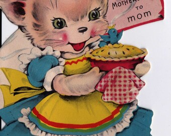 Vintage 1948 Happy Mother's Day To Mom Kitten Greetings Card (B16)