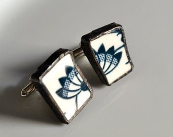 Broken China Cuff Links - Blue Onion