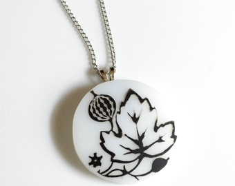 Broken China Jewelry Pendant - Black and White Gooseberry Pyrex